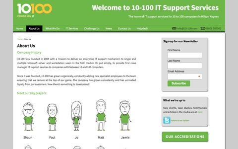 Screenshot of About Page 10-100.com - About Us - 10-100 IT Support Services - captured Oct. 18, 2017