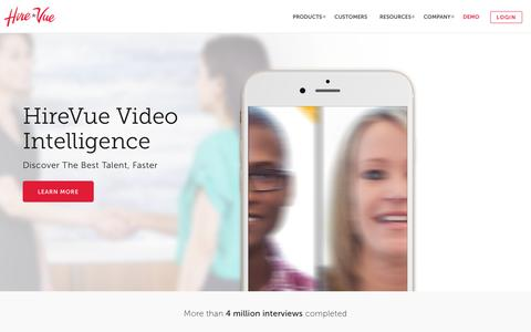 Screenshot of Home Page hirevue.com - Video Interview Software & Recruiting Tools   HireVue Video Intelligence - captured May 12, 2017