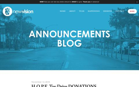Screenshot of Blog newvision.city - Announcements Blog — New Vision Church | Jesus. People. City. - captured Dec. 7, 2018