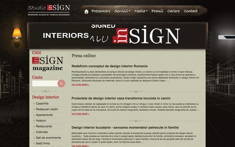 Screenshot of Blog studioinsign.ro - Presa online - Media - Studio Insign - Amenajari interioare, design interior, arhitectura de interior - Interioare semnate de mari designeri - captured Oct. 6, 2014