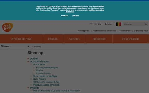 Screenshot of Site Map Page gsk.com - Sitemap | GSK Belgium || Our research activities,job opportunities, our medicines & vaccines - captured Dec. 29, 2016