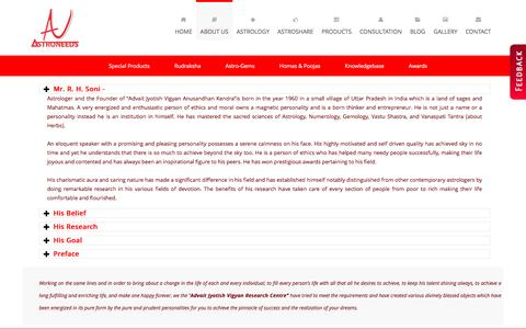 Screenshot of About Page astroneeds.com - Astroneeds  About Best Astrologer in Pune - captured Feb. 5, 2016