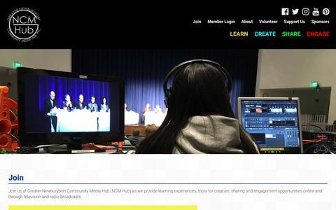 Screenshot of Signup Page ncmhub.org - Join - Greater Newburyport Community Media Hub, Inc. - captured July 20, 2018