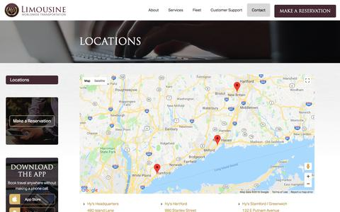 Screenshot of Locations Page hyslimo.com - Driving Directions to Hy's Limousine - captured July 20, 2018