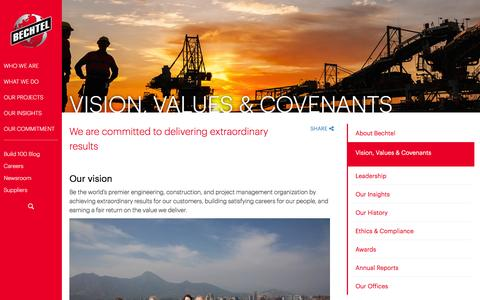 Our Vision, Values & Covenants - What We Believe - Bechtel