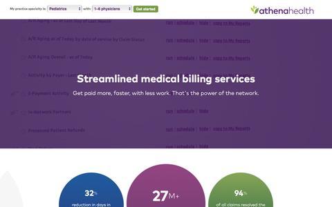 Screenshot of Landing Page athenahealth.com - Medical Billing | athenaCollector | PPC - captured Sept. 26, 2016