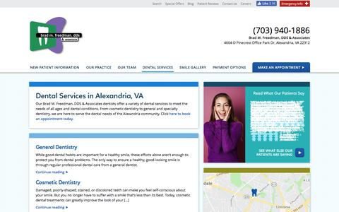 Screenshot of Services Page bmfdental.com - Dental Services in Alexandria | General, Family, & Cosmetic Dentistry in Alexandria , Virginia | Brad M. Freedman, DDS & Associates - captured July 2, 2018