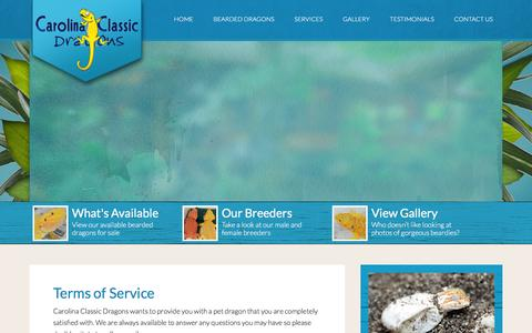 Screenshot of Terms Page carolinaclassicdragons.com - Terms of Service | Carolina Classic Dragons - captured Jan. 26, 2016