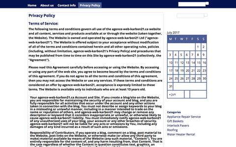 Screenshot of Privacy Page agence-web-karbon21.ca - Privacy Policy | agence-web-karbon.ca - captured July 5, 2017
