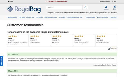Screenshot of Testimonials Page royalbag.com - Customer Testimonials and Reviews - RoyalBag.com - captured June 15, 2017