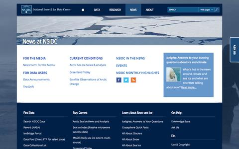 Screenshot of Press Page nsidc.org - News at NSIDC   National Snow and Ice Data Center - captured Sept. 23, 2014