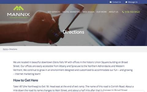 Screenshot of Maps & Directions Page mannixmarketing.com - Directions to Mannix Marketing in Glens Falls NY, a Digital Marketing Agency - captured July 25, 2018
