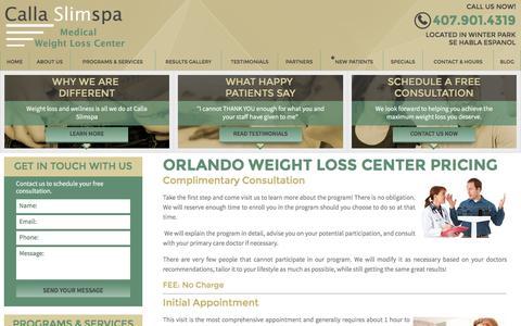 Screenshot of Pricing Page callaslimspa.com - Pricing - Calla Slimspa Medical Weight Loss Center - captured Jan. 24, 2016