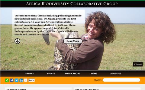 Screenshot of Home Page abcg.org - Africa Biodiversity Collaborative Group - captured Feb. 5, 2016