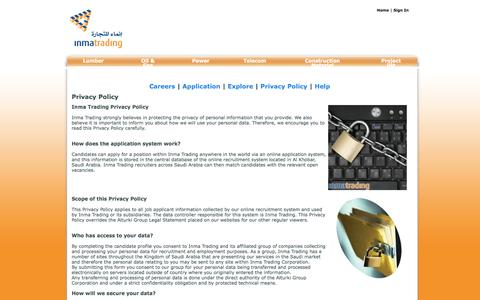 Screenshot of Privacy Page inmatrading.com - Privacy Policy - Careers - Inma Trading - captured Oct. 9, 2014