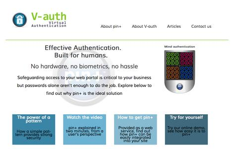 Screenshot of Home Page Menu Page v-auth.com - - - captured Oct. 2, 2014