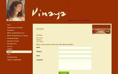 Screenshot of Contact Page vinaya.nl - Contact | Vinaya - Doesburg - captured May 29, 2016