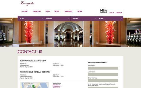 Screenshot of Contact Page theborgata.com - Contact Us | Borgata Hotel Casino & Spa - captured May 18, 2019
