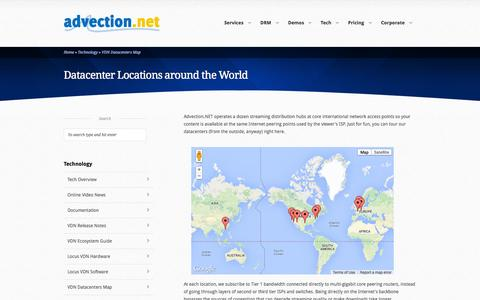 Screenshot of Maps & Directions Page advection.net - Advection.NET: VDN Datacenters Map - captured Oct. 1, 2014