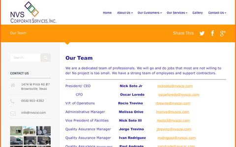 Screenshot of Team Page nvscsi.com - Our Team | NVS Corporate Services Inc. - captured Nov. 3, 2014