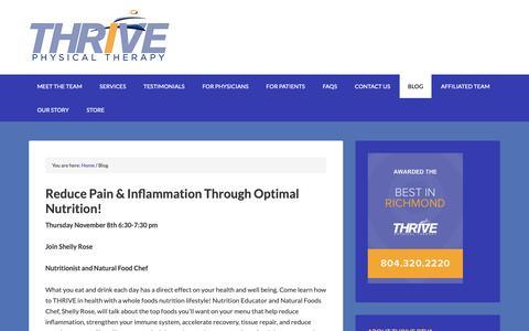 Screenshot of Blog thriveptva.com - Blog - Thrive Physical Therapy in Richmond - captured Oct. 26, 2018