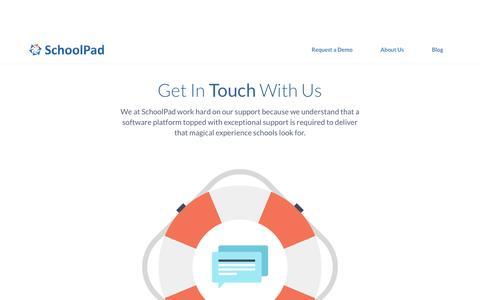 Screenshot of Support Page schoolpad.in - Support Request | SchoolPad - captured Dec. 9, 2015