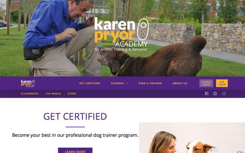 Screenshot of Home Page karenpryoracademy.com - Become A Professional Dog Trainer Courses - Certification Program - captured May 22, 2018