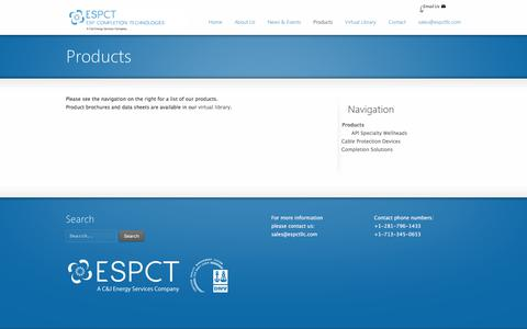 Screenshot of Products Page espctllc.com - Products | ESPCT - captured Sept. 26, 2018