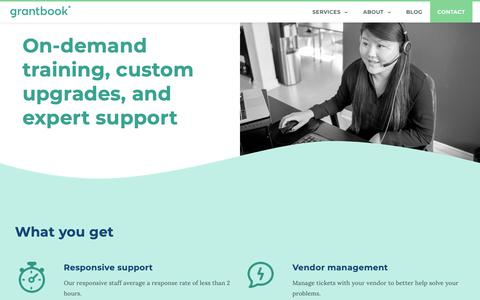 Screenshot of Support Page grantbook.org - Technology support & training for grantmakers | Grantbook - captured April 23, 2019