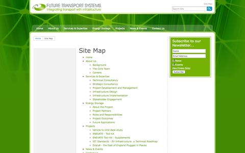 Screenshot of Site Map Page futuretransportsystems.co.uk - Site Map - captured Oct. 6, 2014