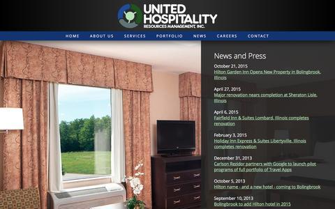 Screenshot of Press Page unitedhosp.com - News and Press - United Hospitality Resources Management Chicago - captured Feb. 16, 2016