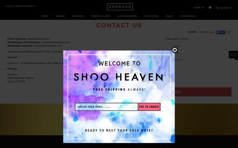 Screenshot of Contact Page zooshoo.com - Contact Us | ZOOSHOO | ZOOSHOO - captured Jan. 14, 2016