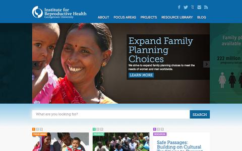 Screenshot of Home Page irh.org - Institute for Reproductive HealthHome | Institute for Reproductive Health - captured Oct. 6, 2014
