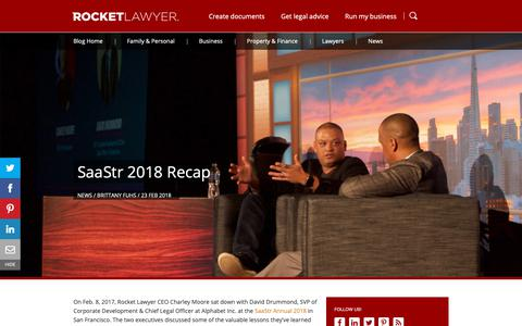 Screenshot of Blog rocketlawyer.com - SaaStr 2018 Recap - Rocket Lawyer - captured April 29, 2019