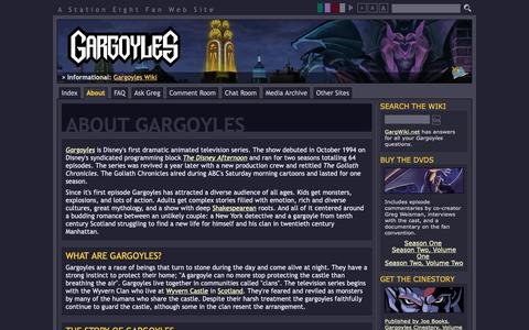 Screenshot of About Page s8.org - About Gargoyles : Gargoyles : Station Eight - captured Oct. 22, 2018