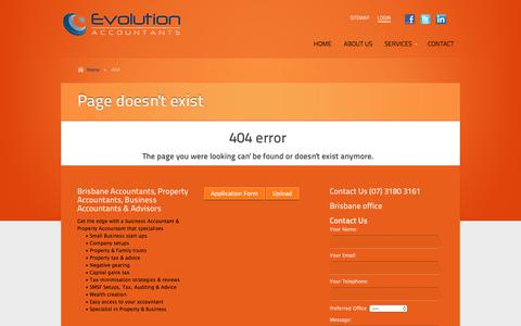 Screenshot of Login Page evolutionaccountants.com.au - 404 Not Found | Accountants Brisbane, Business and Property Accountants, Accountant Brisbane, Accountants for Brisbane - captured July 22, 2018