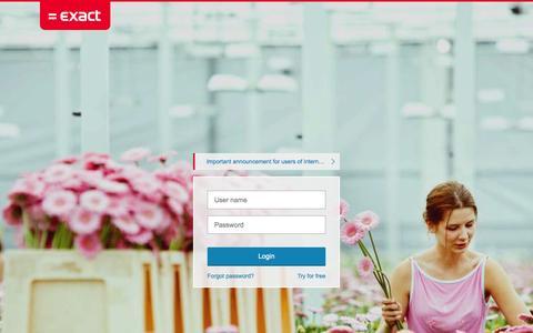 Screenshot of Login Page exactonline.co.uk - Redirect - Exact Online - Online Business Software - Exact Online UK - captured Nov. 4, 2014