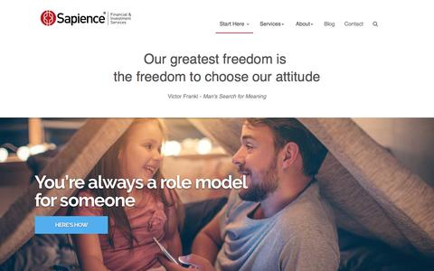 Screenshot of Home Page sapience.com.au - Financial services and insurance advice for small business owners and their families - Sapience Financial and Investment Services - captured Oct. 5, 2017