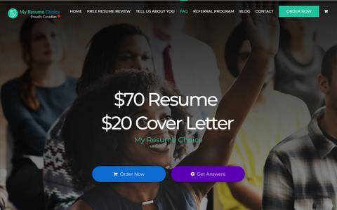 Screenshot of FAQ Page myresumechoice.com - FAQ – Best Value Resume Service - captured Nov. 21, 2017