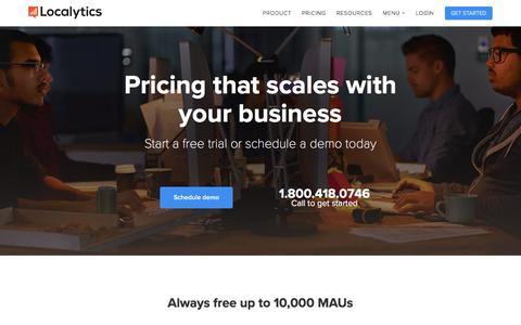 Screenshot of Pricing Page localytics.com - Localytics Plans and Pricing | Localytics - captured Feb. 13, 2016
