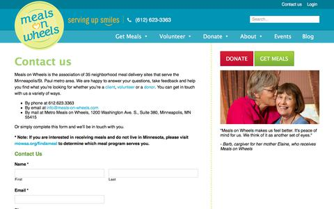 Screenshot of Contact Page meals-on-wheels.com - Contact us - Meals on Wheels - captured Oct. 18, 2017