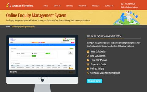 Screenshot of Products Page appectual.com - Online Enquiry Management System | Enquiry Management System India - captured Oct. 4, 2014