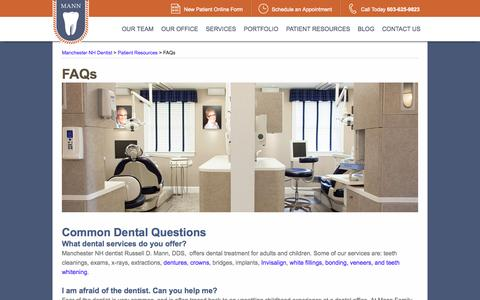 Screenshot of FAQ Page mannfamilydental.com - Manchester NH Dentist | Ask Questions | Family Dental Care - captured Oct. 4, 2014