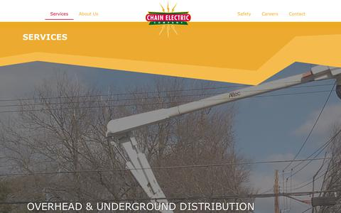 Screenshot of Services Page chainelectric.com - Energy Maintenance Services by Industry Experts: Chain Electric - captured Sept. 27, 2018
