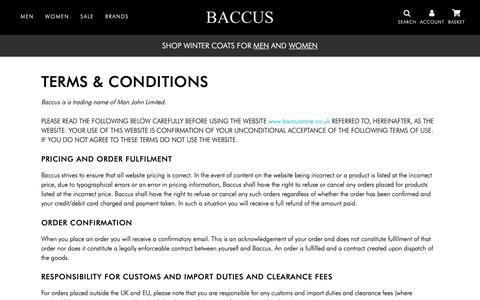 Screenshot of Terms Page baccusstore.co.uk - Terms & Conditions - Baccus - captured Nov. 11, 2018