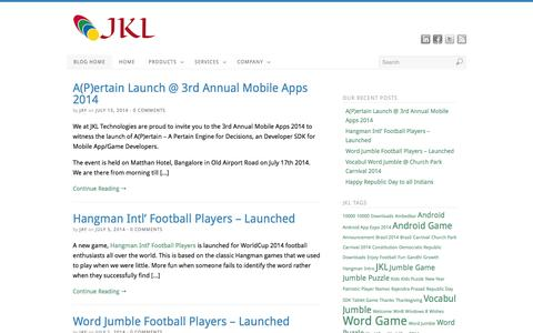 Screenshot of Blog jkltech.in - JKL Technologies - Productivity & Knowledge Tools - captured Oct. 4, 2014