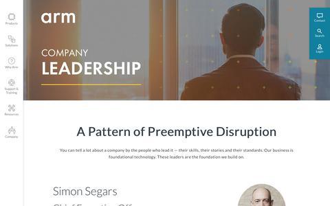 Screenshot of Team Page arm.com - Leadership – Arm - captured Jan. 31, 2019