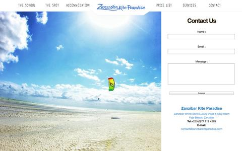Screenshot of Contact Page zanzibarkiteparadise.com - CONTACT | Zanzibar Kite Paradise, Paje Beach Kite Centre - captured Nov. 5, 2014