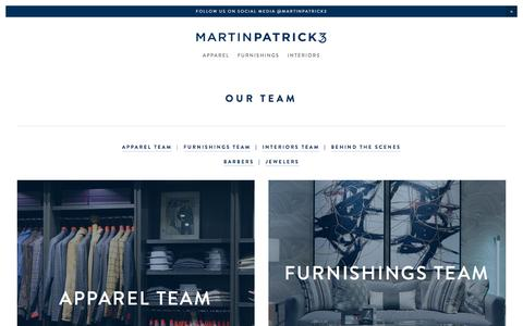 Screenshot of Team Page martinpatrick3.com - Our Team Main Page — MartinPatrick3  |  Apparel  |  Furnishings  |  Interiors  North Loop  |  Mpls - captured Sept. 21, 2018