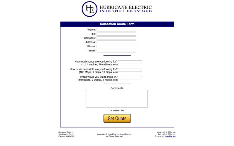 Colocation Quote Form - Hurricane Electric